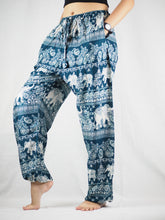 Load image into Gallery viewer, Paisley elephants Unisex Drawstring Genie Pants in Green PP0110 020022 05