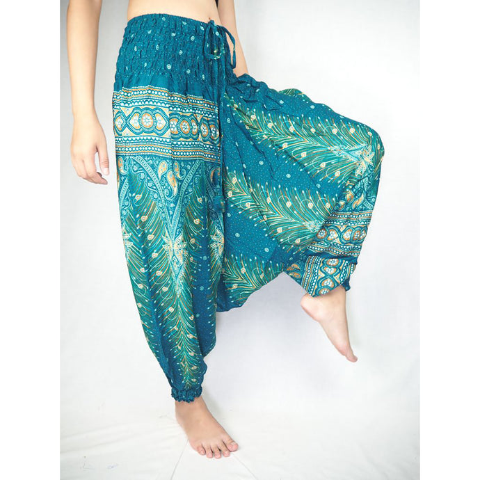 Peacock Unisex Aladdin drop crotch pants in Dark Green PP0056 020008 03