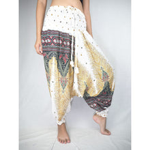 Load image into Gallery viewer, Peacock Unisex Aladdin drop crotch pants in White PP0056 020008 07