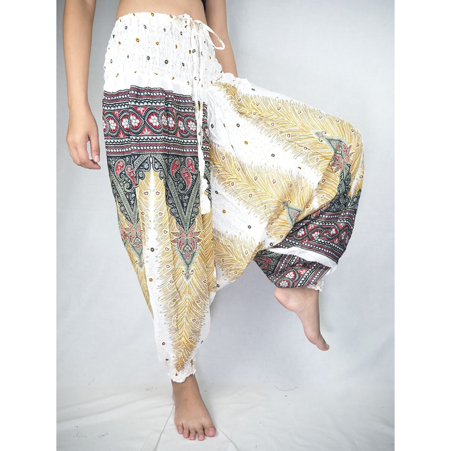 Peacock Unisex Aladdin drop crotch pants in White PP0056 020008 07