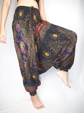 Load image into Gallery viewer, Peacock Eye Unisex Aladdin drop crotch pants in Black PP0056 020003 01