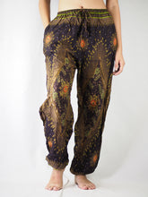 Load image into Gallery viewer, Peacock Eye Unisex Drawstring Genie Pants in Brown PP0110 020003 03