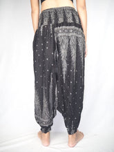 Load image into Gallery viewer, Peacock Feather Dream Unisex Aladdin drop crotch pants in Black PP0056 020015 09