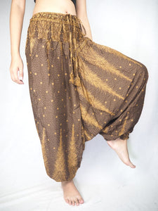 Peacock Feather Dream Unisex Aladdin drop crotch pants in Brown PP0056 020015 08