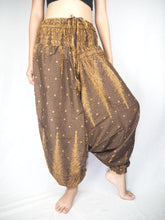 Load image into Gallery viewer, Peacock Feather Dream Unisex Aladdin drop crotch pants in Brown PP0056 020015 08