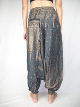 Load image into Gallery viewer, Peacock Feather Dream Unisex Aladdin drop crotch pants in Gray PP0056 020015 06