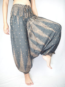 Peacock Feather Dream Unisex Aladdin drop crotch pants in Gray PP0056 020015 06