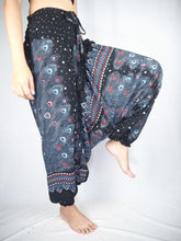 Load image into Gallery viewer, Peacock Heaven Unisex Aladdin drop crotch pants in Black PP0056 020058 01