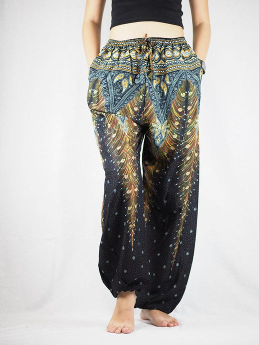 Peacock Unisex Drawstring Genie Pants in Black Gold PP0110 020007 04
