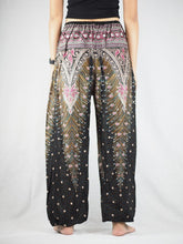 Load image into Gallery viewer, Peacock Unisex Drawstring Genie Pants in Black White PP0110 020007 06