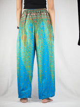 Load image into Gallery viewer, Peacock Unisex Drawstring Genie Pants in Blue PP0110 020008 06