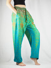 Load image into Gallery viewer, Peacock Unisex Drawstring Genie Pants in Bright Green PP0110 020008 04