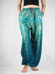 Peacock Unisex Drawstring Genie Pants in Dark Green PP0110 020008 03