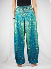 Load image into Gallery viewer, Peacock Unisex Drawstring Genie Pants in Dark Green PP0110 020008 03