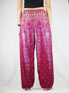 Peacock Unisex Drawstring Genie Pants in Dark Red PP0110 020008 02