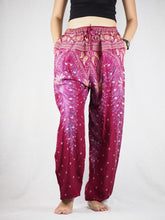 Load image into Gallery viewer, Peacock Unisex Drawstring Genie Pants in Dark Red PP0110 020008 02
