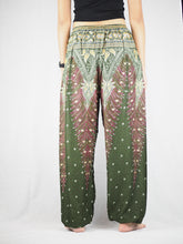 Load image into Gallery viewer, Peacock Unisex Drawstring Genie Pants in Olive PP0110 020034 01