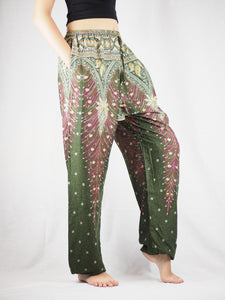 Peacock Unisex Drawstring Genie Pants in Olive PP0110 020034 01