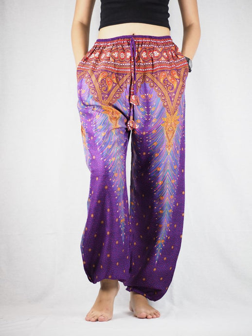 Peacock Unisex Drawstring Genie Pants in Purple PP0110 020007 02