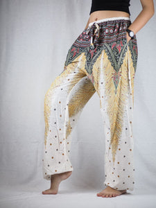 Peacock Unisex Drawstring Genie Pants in White PP0110 020008 07