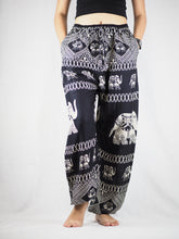 Load image into Gallery viewer, Pirate elephant Unisex Drawstring Genie Pants in Black PP0110 020023 01