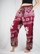 Load image into Gallery viewer, Pirate elephant Unisex Drawstring Genie Pants in Red PP0110 020023 02