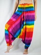 Load image into Gallery viewer, Rainbow Unisex Aladdin Drop Crotch Pants in Rainbow PP0056 020046 01
