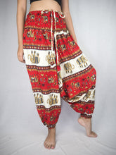 Load image into Gallery viewer, Royal Elephant Unisex Aladdin drop crotch pants in Red PP0056 020024 02