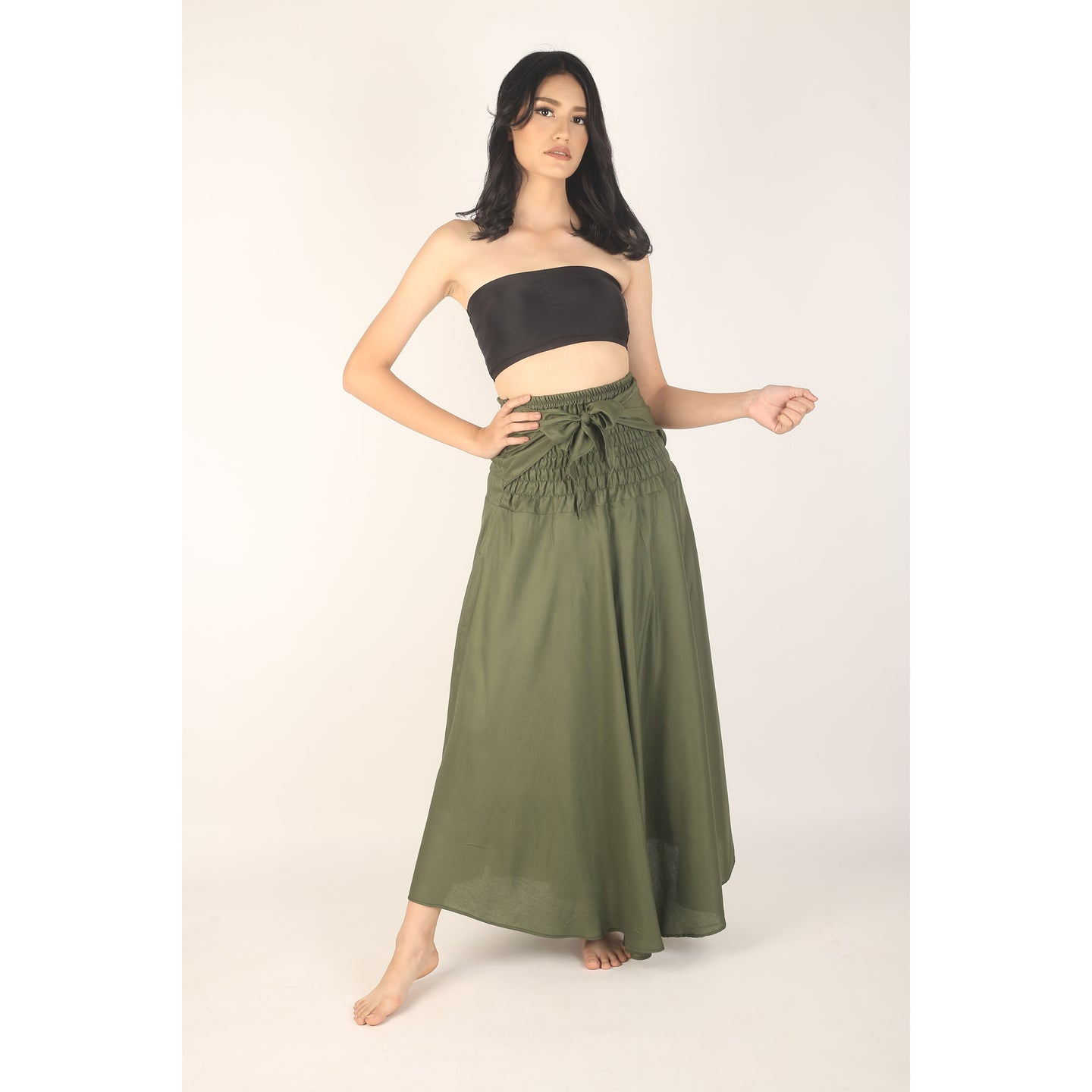 Solid Color Women's Bohemian Skirt in Olive SK0033 020000 13