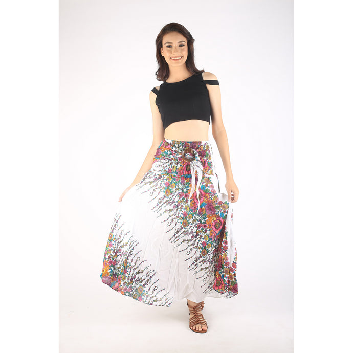 Floral Royal Women's Bohemian Skirt in White Pink SK0033 020010 13