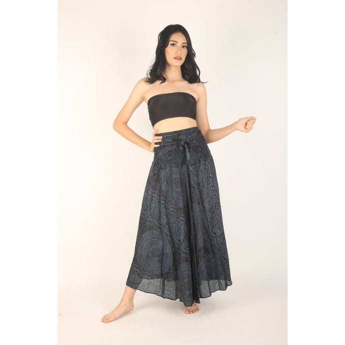 Monotone Mandala Women's Bohemian Skirt in Black SK0033 020031 05