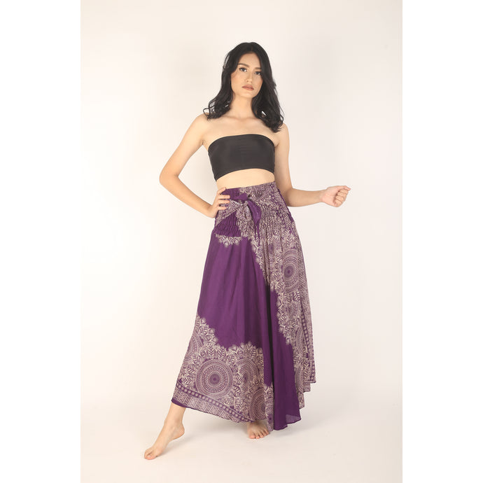 Floral Mandala Women's Bohemian Skirt in Purple SK0033 020036 01