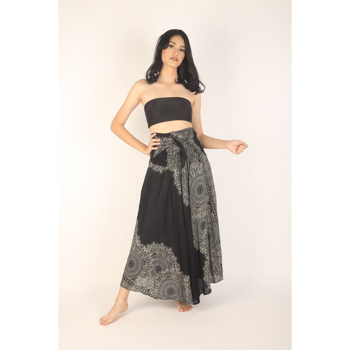Floral Mandala Women's Bohemian Skirt in Black SK0033 020036 02