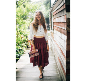 Solid Color Women Skirts in Burgundy SK0086 020000 15