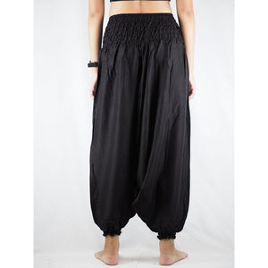 Solid Color Unisex Aladdin Drop Crotch Pants in Black PP0056 020000 10