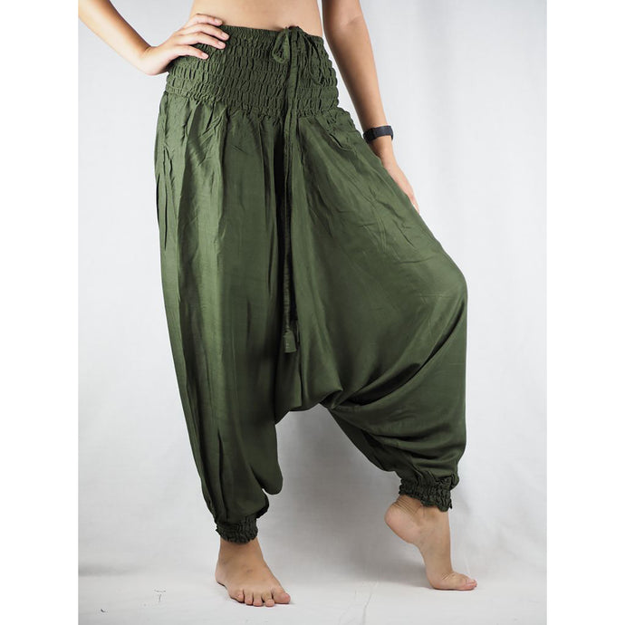 Solid color Unisex Aladdin drop crotch pants in Olive PP0056 020000 13