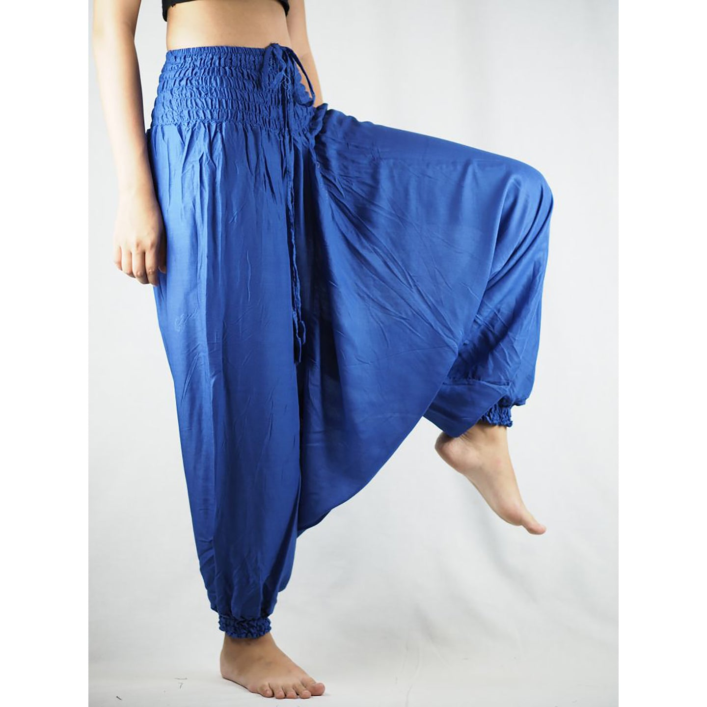 Solid color Unisex Aladdin drop crotch pants in Royal Blue PP0056 020000 02