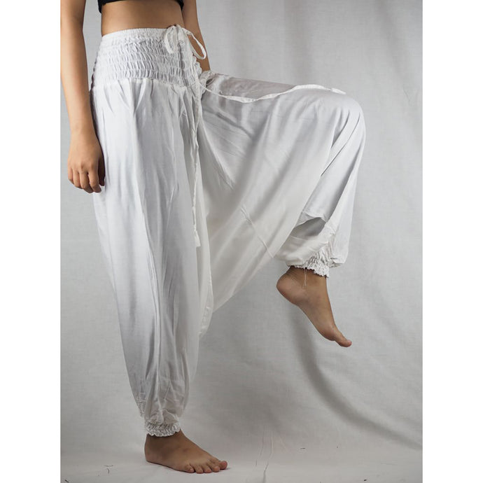 Solid Color Unisex Aladdin Drop Crotch Pants in White PP0056 020000 04
