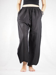 Solid Color Unisex Drawstring Genie Pants in Black PP0110 020000 10