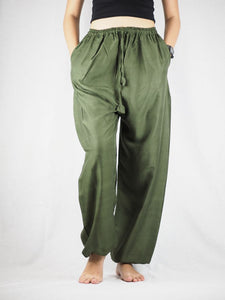 Solid Color Unisex Drawstring Genie Pants in Olive PP0110 020000 13
