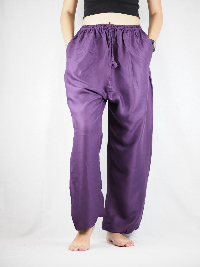 Solid Color Unisex Drawstring Genie Pants in Purple PP0110 020000 06