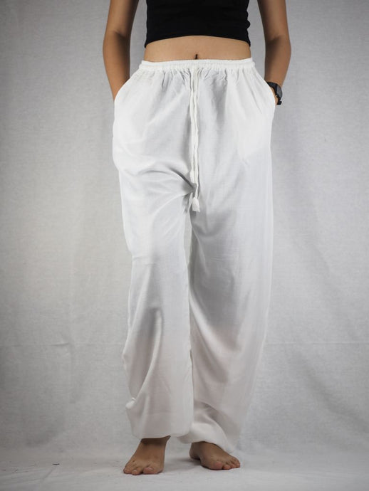 Solid Color Unisex Drawstring Genie Pants in White PP0110 020000 04