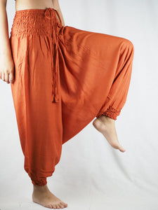 Solid color Unisex Aladdin drop crotch pants in Orange PP0056 020000 11