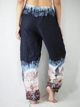 Load image into Gallery viewer, Solid Top Elephant Unisex Drawstring Genie Pants in Black PP0110 020018 06