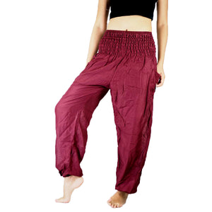 Solid color women harem pants in Burgundy PP0004 020000 15