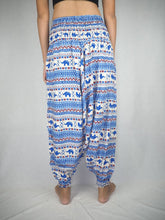Load image into Gallery viewer, Striped elephant  Unisex Aladdin drop crotch pants in Blue PP0056 020053 06