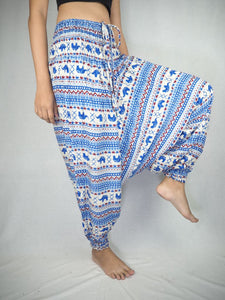 Striped elephant  Unisex Aladdin drop crotch pants in Blue PP0056 020053 06