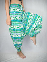 Load image into Gallery viewer, Striped elephant  Unisex Aladdin drop crotch pants in Green PP0056 020053 05