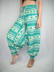 Striped elephant  Unisex Aladdin drop crotch pants in Green PP0056 020053 05