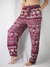 Load image into Gallery viewer, Sunflower elephant Unisex Drawstring Genie Pants in Red PP0110 020025 04